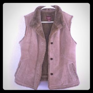 Eddie Bauer leather& faux fur vest Medium
